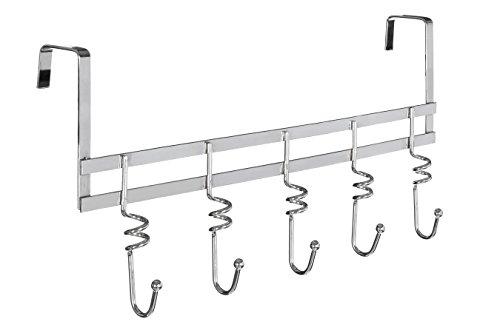 Premier Housewares Türgarderobe, 5 Haken, Chrom, Spiralen, für 45 mm Türstärke, Silber, 9x45x22
