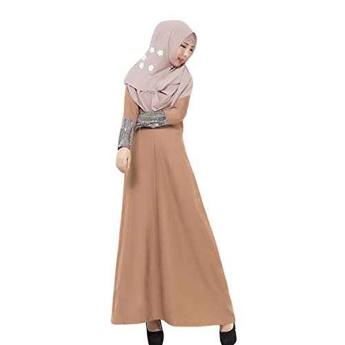 Meijunter Turkey Islamic Femme Robes Kaftan Abaya Musulman Manche longue Dress Gown Café