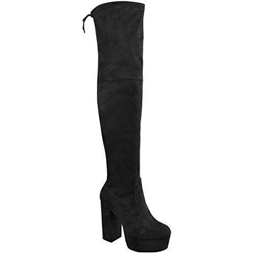 extra lange overknee stiefel Damen Overknee-Stiefel - hoher Blockabsatz mit Plateau - Stretch - Schwarz Veloursleder-Imitat - EUR 40