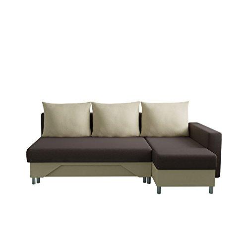 Mirjan24  Ecksofa Tom! Sofa Eckcouch Couch! mit Zwei Bettkasten und Schlaffunktion, Funktionssofa L-Form Schlafsofa Bettsofa (Ecksofa Rechts, Alova 68 + Alova 07)