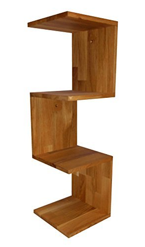 Stabiles Eckregal aus Massivholz Eiche, geölte Oberfläche, Zickzackregal, 26x26x86cm, echtes Holz