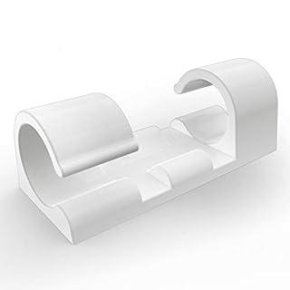 XIAOXI Selbstklebend Kabelschellen/Kabel-clips, Schwarz, 20 Stück Kabelhalter für Haus, Büro, Auto, PC. Anbringen an Wand oder Schreibtisch für Kabelmanagement (Weiß)