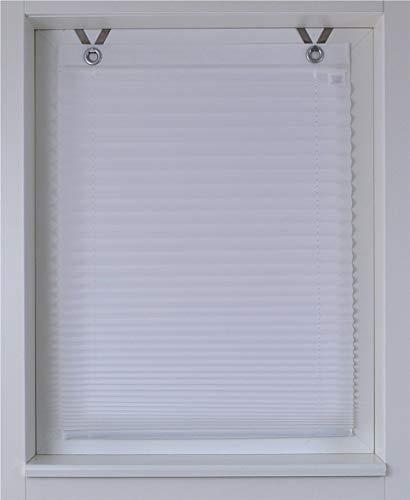 Estor plisado Olbia blanco ojales montaje sencillo sin taladrar ca. 40/125 cm