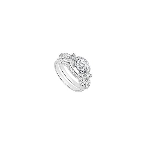 Cubic Zirconia Engagement Ring Sets with CZ Wedding Bands in 14K White Gold 1 Carat TGW