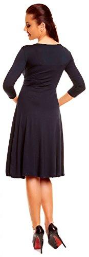 Zeta Ville Damen Ausgestellter Schnitt Swing-Kleid Sommerkleid Cocktailkleid 282z Marine