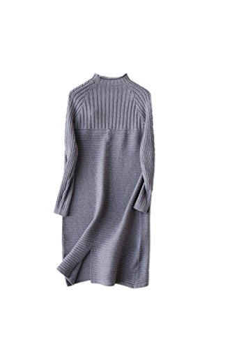 Yacun Frauen solide Rollkragen Langarm Pulloverkleid Grey