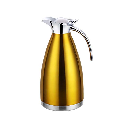GUOCU Thermoskanne 304 Edelstahl Doppelwand Vakuum Isolierte Kaffee Topf Kaffee Thermos Kaffee Plunger Saft/Milch/Tee Isolierung Topf,Gold,2 L(24 Hours Insulation)