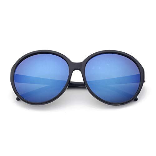 Epinki Unisex Polarisierte Sonnenbrille Rund UV400 Schutz Mode Brille | Vollrand | für Alltag, Party, Fahren - Schwarz Blau
