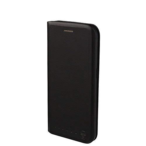 Nouskeb Lederklapphülle Tasche für Samsung Galaxy S6 Edge Hülle handgefertigt geschwungene Kanten mit Aufsteller und Kartenfach TPU Schutzhülle Cover Onyx Schwarz.
