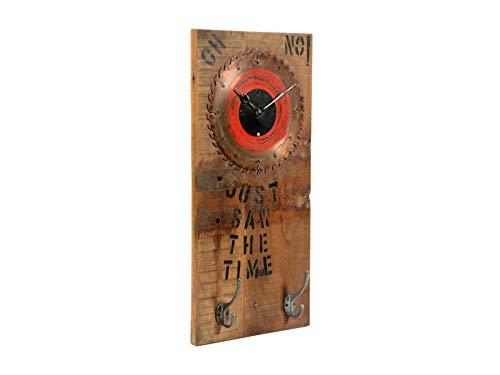 Woodkings® Wanduhr Sägeblatt Unikat 30x60cm rustikal Wanddeko Altholz Metall Analoges Uhrwerk Recycling Zahnrad Design Unikat