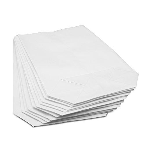 50/100 weiße kleine Kraftpapier-Tüten (14x19cm) mit Kreuzboden – Gerne verwendet für Hochzeiten, Gastgeschenke, Mitgebsel, Geburtstage, Adventskalender, Taufen, DIY Ostern uvm. (100 Stk.)