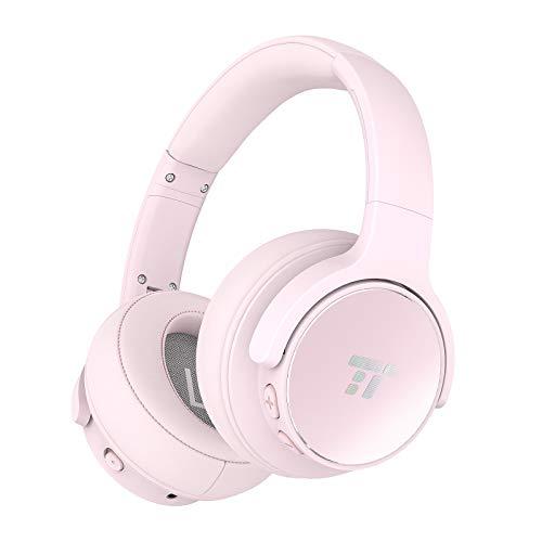 TaoTronics Casque Bluetooth sans Fil avec Réduction de Bruit Active et 30 Heures d'Autonomie, Casque Audio Stéréo avec Double Haut-parleurs 40mm et Microphone Intégré CVC pour Voyage Travail TV (Rose)
