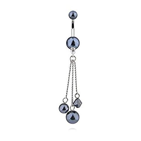 Black Shimmer Pearl Faux Pearl Dangle Balls et Charm Barre de ventre Piercing Epaisseur: 1.6mm Longueur: 10mm Matériel: Acier chirurgical