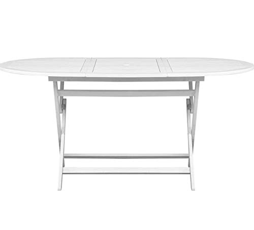 Large Garden Dining Table Outdoor White Painted Patio Wooden Furniture Folding 6 Seater Rustic Solid Wood Conservatory Seating Backyard Yard Deck Porch Outside BBQ Barbecue Seat Foldable Storage Away