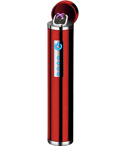 Auratrio Y14 Elektro Lichtbogen Feuerzeug Plasma Arc Lighter aufladbar Touchscreen elektronisch, Windundurchlässiges Flamess für Küche, Grill, Kerzen und Zigaretten (Gebürstet-Rot)