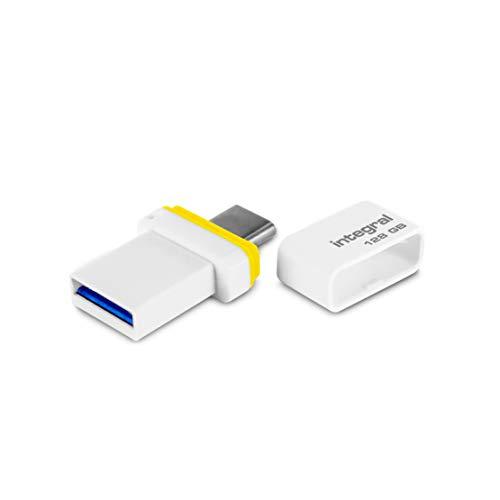 Integral - USB-Stick 128 GB - USB 3.1 & Type-C Fusion Dual Anschluss für Datensicherung zwischen Smartphones, PC, Macs, Tablets USB C
