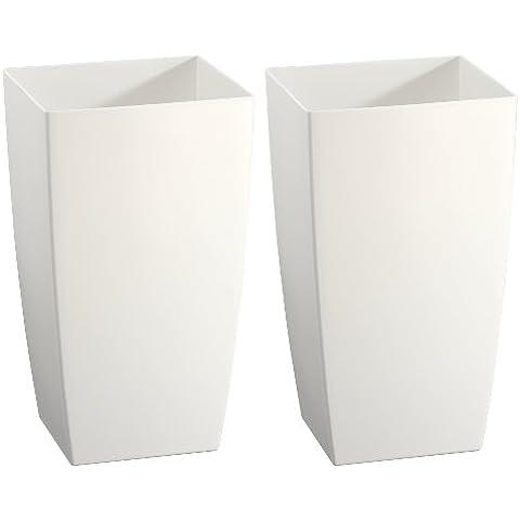 Cuba plástico para plantas marca Gartenfreude para interior y exterior, blanco, 2 piezas, 20 x 20 x 35