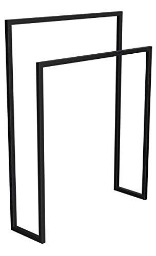 HOLZBRINK Metall Handtuchhalter für Badezimmer Kleiderständer Freistehender Handtuchständer mit 2 Stangen, Tiefschwarz, 90x70x20 cm (HxBxT), HLMH-01-90-70-9005 -