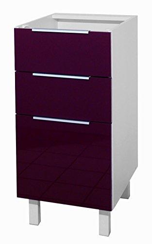 Berlenus CT4BA - Mueble bajo de cocina con 3 cajones (40 cm), color berenjena brillante