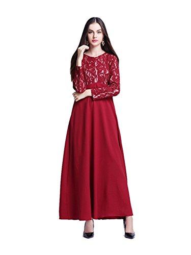 Dishdasha Kostüm (Dreamskull Muslime Muslim Abaya Dubai Kleid Muslimisch Islamisch Arab Arabisch Indien Türkisch Casual Abendkleid Abendmode Kaftan Kleidung Maxikleid Spitze Lace Dress Damen Frauen (M,)