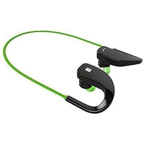 Top-Longer Bluetooth 4.0 para Correr Cascos Deportivos y Resistente al Agua y Audor. Auriculares con Tecnología aptX Avanzada para iPhone, iPad, Samsung, PC y otros Teléfonos Inteligentes (Negro/Verde)