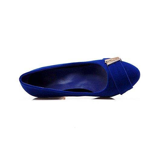 Cuckoo 5.5cm Mid Chunky Heel en cuir suédé synthétique Escarpins confortable des femmes Bleu
