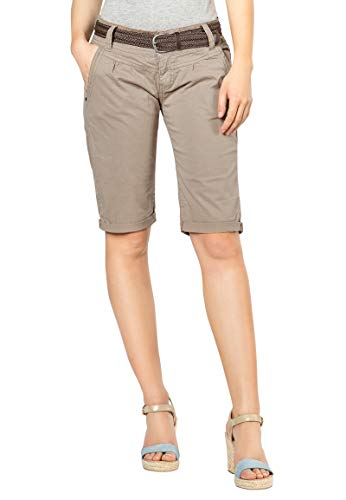Fresh Made Sommer-Hose Bermuda-Shorts für Frauen | Kurze Chino-Hose mit Flecht-Gürtel | Basic Shorts aus Baum-Wolle Middle-beige S