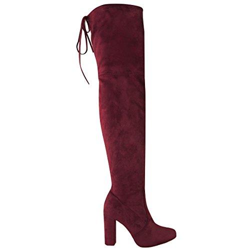 Shoesdays ,  Damen Über dem Knie burgunderfarben