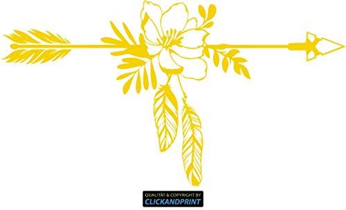 (CLICKANDPRINT  Aufkleber » Pfeil mit Blumen und Federn, 70x38,0cm, Shellgelb • Dekoaufkleber/Autoaufkleber / Sticker/Decal / Vinyl)