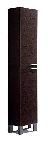 Columna de baño o aseo mueble auxiliar almacenamiento para aseo en color wengué con 2 armarios interior con baldas regulables 182x30x25 cm