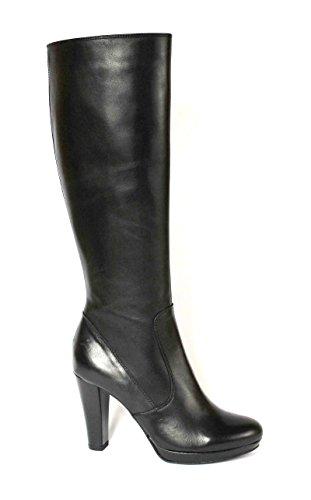 MADNESS DIVINE 420371 botte noire talon en cuir côté tube femme zip Nero