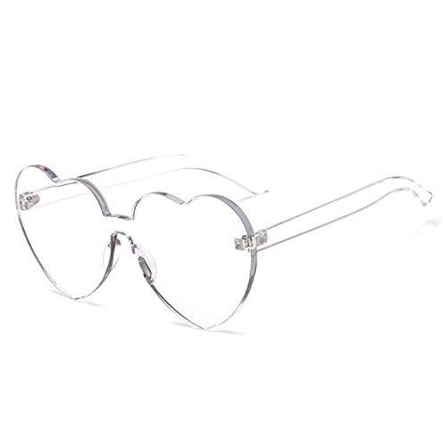 Kjwsbb Candy Color Love Heart Shaped Sonnenbrillen Randlose Rahmen Tönung Klare Linse Sonnenbrille Lady