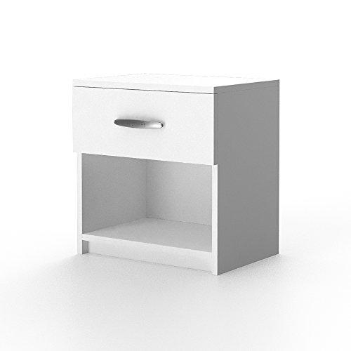 2x Nachtschrank Nachttisch Kommode Schrank Schlafzimmer Schublade Ablage Weiß (Weiß)
