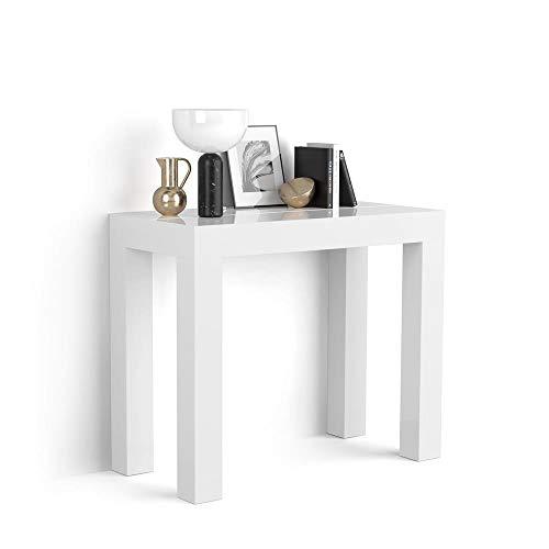 Mobili Fiver, Ausziehbarer Konsolentisch First, glänzend, weiß, 90 x 45 x 76 cm, Made in Italy