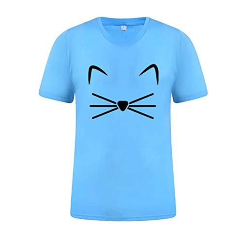 JUSTSELL ▾ Damen T-Shirt - Sommer Rundhals Volltonfarbe 喵 Mi Druck Kurzarm-Shirt Lässig Bequeme Hauskleidung Sportkleidung