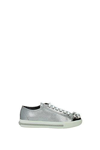 Sneakers Miu Miu Donna Pelle Argento Cromo 5E8557CROMO Argento 36.5EU