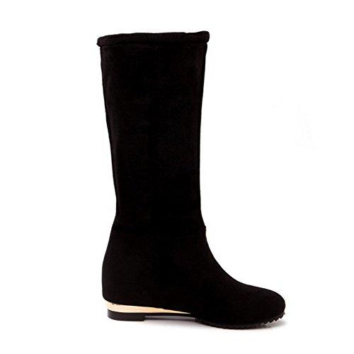 AgooLar Damen Rund Zehe Ziehen auf Hoch-Spitze Mittler Absatz Stiefel, Weinrot-Wasserdicht Plattform, 43