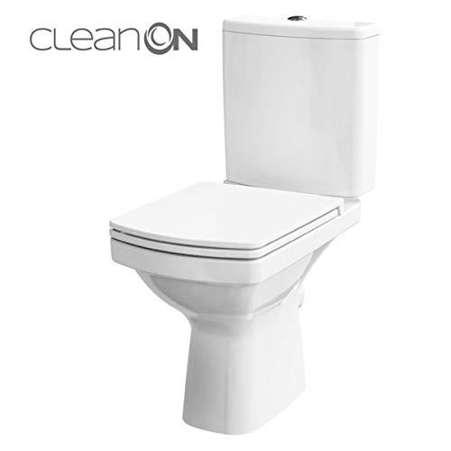 Keramik Stand- WC Toilette Komplett -Design- Set mit Spülkasten WC- Sitz aus Duroplast mit Absenkautomatik SoftClose-Funktion für waagerechten Abgang Wasseranschluss Spülrandlos Easy