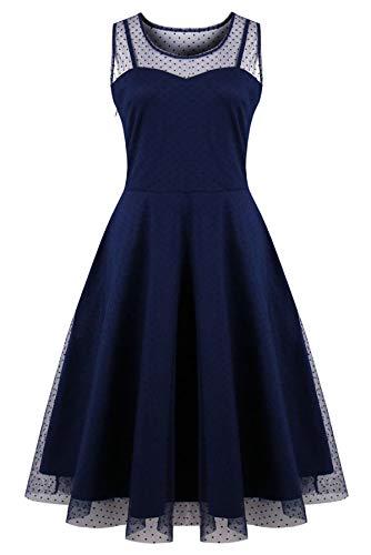 KILOLONE Damen Plus Size Kleid 1950er Cocktailkleid Jahrgang Kleider Spitzenkleid Langarm Knielang Rockabilly Kleid S-6XL