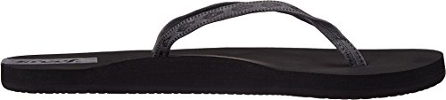 Reef Slim Ginger Leather, Tongs Fille gris - Gris (Black / Grey)