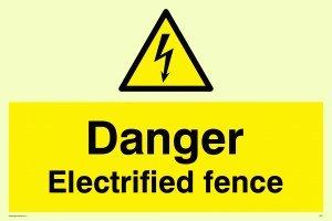 """Viking Schilder we77-a4l-pv """"Gefahr elektrisierte Zaun"""" Zeichen, nachleuchtend Aufkleber, 200Mm H x 300mm W"""