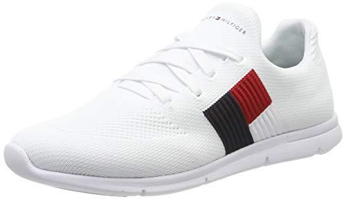 Tommy Hilfiger Damen Knitted Flag Light Sneaker, Weiß (White 100), 39 EU