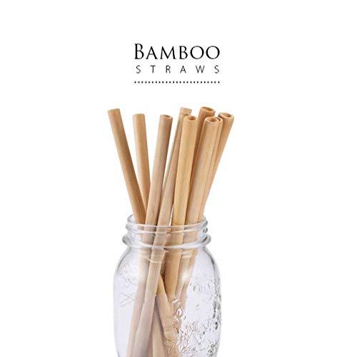 EAHOME Bambus Trinkhalme, 10 Stück Strohhalme Wiederverwendbar Biologisch Abbaubar Trinkhalme mit Faser Reinigungsbürste,Alternative zu Einmaligen Gebrauch Kunststoff Trinkhalme (Baby Flasche Bier Trinken Kann)