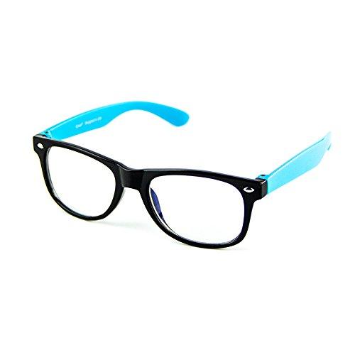 Cyxus filter blaues licht brille für kinder und jugendliche [transparente linse] anti ermüdung der augen das auge des kindes schützen blau rahmen Brille ohne stärke