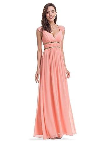 Ever Pretty Womens Cap Sleeve Beaded Empire Waist Long Grecian Style Prom Dress 18 UK Peach