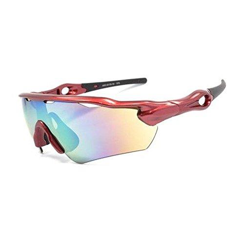 Arc Style 6179 - 10 Sport-Sonnenbrille für Spiegelreflexkameras mit Objektiv, Metallic-Rot