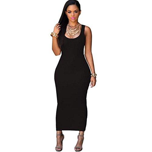 Culater® Femmes été Bandage Bodycon Party Cocktail Maxi Longue Robe Noir