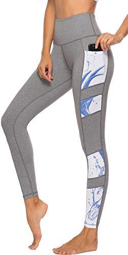 Persit Sporthose Damen, Yoga Leggings Laufhose Yogahose Sport Leggins Tights für Damen Grau-L