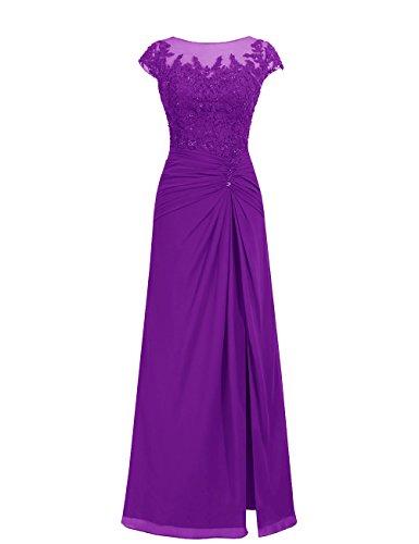 Dresstells Damen Abendkleider Bodenlang Homecoming Kleider Brautjungfernkleider Purpur