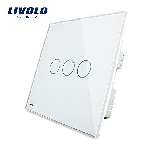 Livolo UK Standard Kristall-Glas Panel Smart Touch Fernbedienung Leuchte Schalter, weiß, VL-C303-61, 250.00 voltsV -